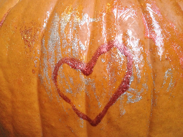 Pumpkin Decorating with Glitter Glue   Rather Square